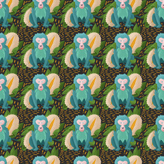 """Digital illustration """"blue monkey"""". This illustration is designed to decorate t-shirts, interiors in the children's room and much more. This character is perfect for monkey and tropical fruit lovers."""