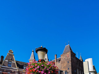 Historical Building in Front of Blue Sky in the Town of Utrecht, Netherlands. Copy space. Nobody