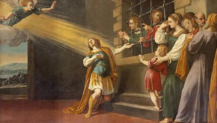 Wall Mural - MODENA, ITALY - APRIL 14, 2018: The painting of the scenes from life of martyr St. Sebastinan in church Chiesa di Santa Maria della Pomposa by Bernardino Cervi (1625).