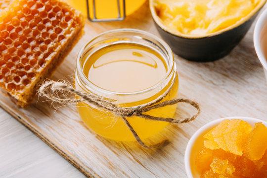 Different varieties of sweet golden fresh honey