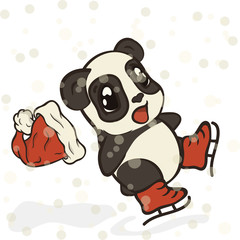 Panda bear skates vector image in minimal style. Scared panda falls. Bearcat and winter sports, healthy lifestyle. Pandas in cartoon style, funny picture for childrens. Attention, slippery surface.