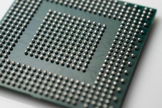 Close up of BGA microchip IC