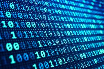 Binary code background, information technology concept, blue digital data on computer screen
