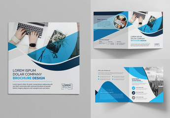 Blue Square Bi-Fold Brochure Layout