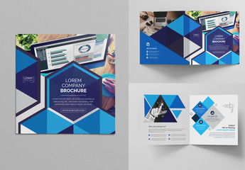 Square Bi-Fold Brochure Layout with Geometric Accents