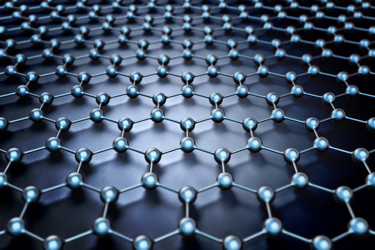 Nanotechnology and nanostructure, atomic and molecular structure, chemical bonds and science concept, crystal lattice network model on dark background