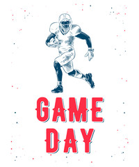 Vector engraved style illustration for posters, decoration and print. Hand drawn sketch of american football player with modern typography on white background. Detailed vintage etching style drawing.