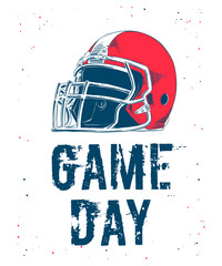 Vector engraved style illustration for posters, decoration and print. Hand drawn sketch of american football helmet with modern typography on white background. Detailed vintage etching style drawing.