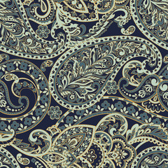 paisley seamless pattern. colorful vector textile background
