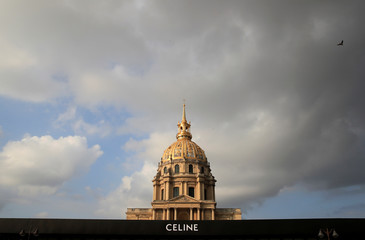 The logo of fashion house Celine is seen in front of the Dome des Invalides before their Spring/Summer 2019 women's ready-to-wear collection show during Paris Fashion Week