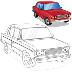Car. Coloring. Isolated on white background. Vector illustration.
