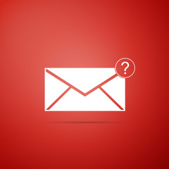 Envelope with question mark icon isolated on red background. Letter with question mark symbol. Send in request by email. Flat design. Vector Illustration