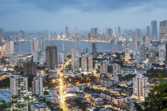 Skyline of downtown Cartagena city showing modern apartment blocks in the Bocagrande neighbourhood, Cartagena, Colombia
