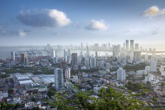 Skyline of downtown Cartagena city showing modern apartment blocks in the Bocagrande neighbourhood, Cartagena, Colombia