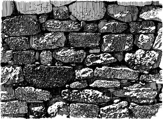 Vector drawing of an old brick wall