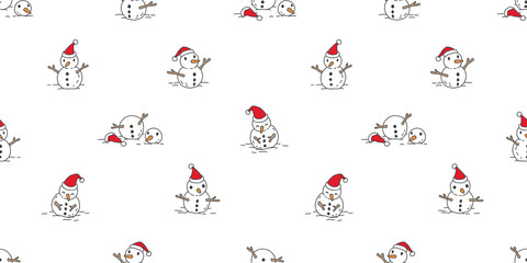 Snowman seamless pattern vector Christmas scarf isolated cartoon tile background wallpaper doodle