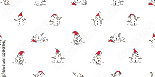 Snowman Seamless Pattern Vector Christmas Scarf Isolated