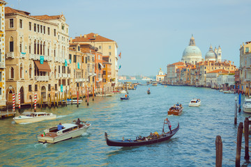 Printed roller blinds Channel Basilica Santa Maria della Salute, Venice, Italy. Landscape Grand Canal with gondolas and boats.