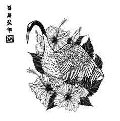 Red-crowned crane with hibiscus tattoo by hand drawing.Beautiful bird on white background.Grus japonensis art highly detailed in line art style.Chinese bird for tattoo or wallpaper.