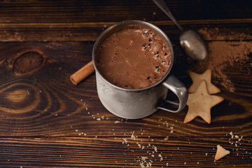 Hot chocolate in a mug with cookies. Winter drink concept. Overhead wiew