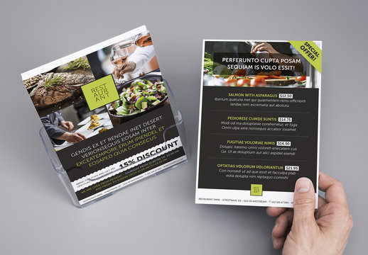 Gray and White Menu Layout with Green Accents