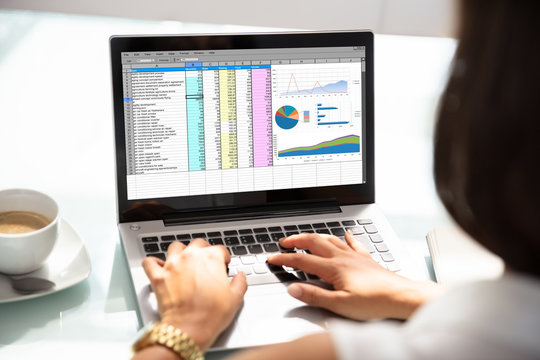 Businesswoman Working With Spreadsheet On Laptop