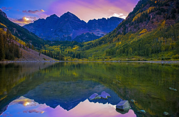 Perfect Scenic View Of Mountain Scape At Sunset Over Lake Reflection