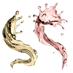 3d render, digital illustration, abstract champagne wave, dynamic shape, liquid splashing set, design elements isolated on white background