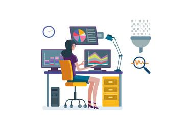 Woman analizing charts and data