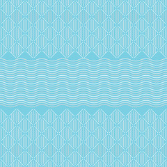 Seamless pattern. Vertical and diagonal lines, squares and waves. Blue, white and light gray in color. Georetic background