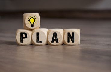 WürfelBusiness Idee Plan Glühbirne