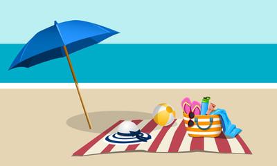 Picnic on the beach with umbrella
