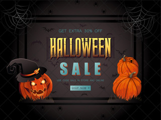 Halloween Sale vector illustration with lettering and pumpkin wi