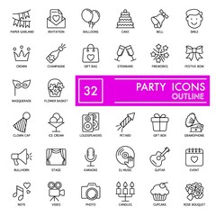 Party with inscription line icon set, celebration symbols collection, vector sketches, logo illustrations, entertainment signs linear pictograms package isolated on white background, eps 10.