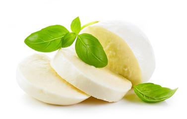 Mozzarella cheese on white background