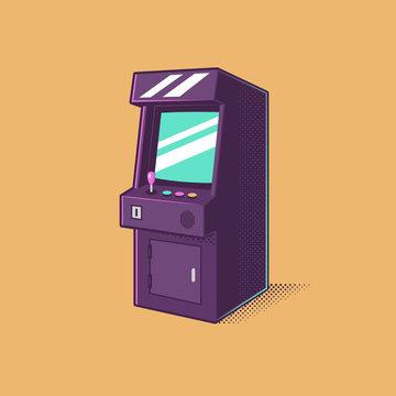 Vintage video games arcade machine vector illustration