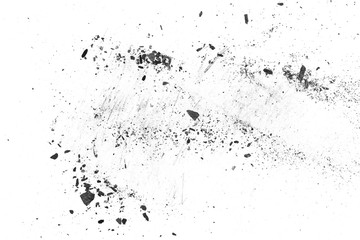 Black charcoal dust, gunpowder isolated on white background and texture, top view