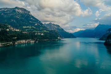 Swiss Mountain Lake nature Drone aerial photo panorama
