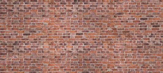 Fotobehang Baksteen muur Dark Brown Or Red Old Brick Wall, Panorama. Brickwork Background Or Texture. Copy Space For Text Or Banner.