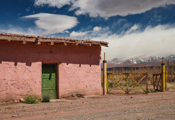 Adobe house near to Los Andes Mountains foot