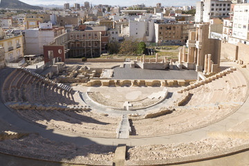 Cartagena from the Roman theater, Murcia, Spain
