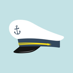 Captain hat with anchor emblem