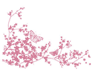cherry tree blooming branches and flying butterflies - spring season vector silhouette design