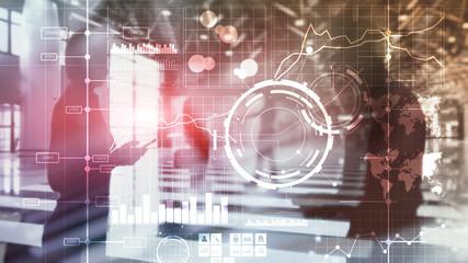 Business intelligence BI Key performance indicator KPI Analysis dashboard transparent blurred background.