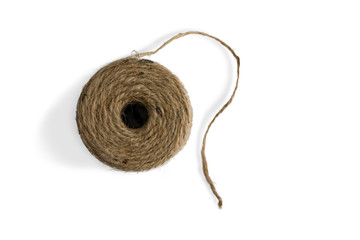 Top down view on a ball of natural jute twine