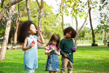 Children in a field trips and playing blowing bubbles together in the green park, Outside school education concept