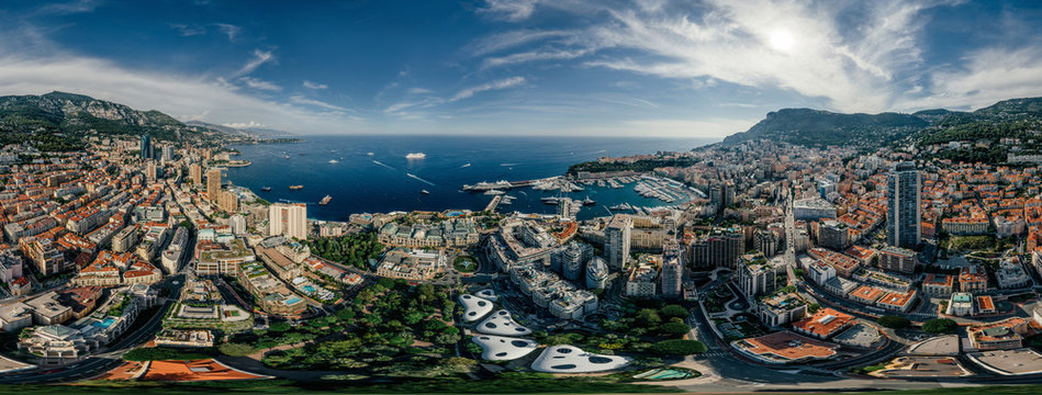 Mountains in Monaco Monte-Carlo city riviera Drone summer photo Air 360 vr virtual reality drone panorama
