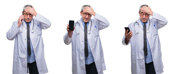 Collage of senior hoary doctor man talking on the phone over white isolated backgroud stressed with hand on head, shocked with shame and surprise face, angry and frustrated. Fear and upset