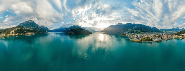 Swiss Mountain Lake nature Drone drone Air 360 vr virtual reality drone panorama