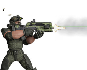 tactical army man cartoon in white background
